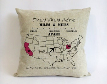 custom wedding couple pillow case--anniversary gift for valentines-mothers day gift-birthday gift for mom-miles miles apart,holding my heart