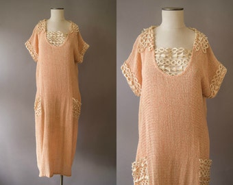 vintage 1920s dress / 20s pink crocheted dress / small - medium / Arrows & Targets Dress