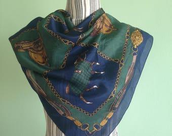 Vintage Equestrian Scarf, Royal Blue Neckerchief, Green Gold Pure Silk Scarf, Navy Light Scarf, Horse Print Silk Headscarf, Horse Track