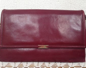 Oxblood Leather Bag, Red Shoulder Purse, Burgundy Clutch, Envelope Purse, Fold Over Handbag, Maroon Hobo Bag, Red Wine Organizer, Berry Bag