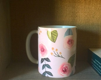 Flower Mug/ 11 oz ceramic mug/ microwave safe/ dishwasher safe with mild detergent