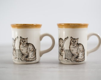 Pair of Vintage Bilton's England Kitty Cat Stoneware Mugs