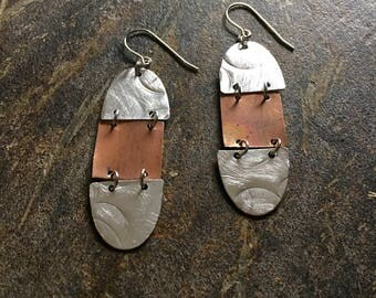 Mixed metal silver and copper chandelier earrings
