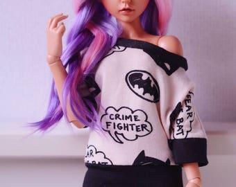 Pink/Black batman shirt off shoulder minifee