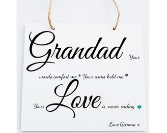 Personalised Grandad Hanging Sign Plaque.