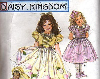 "Simplicity Pattern 0630 Daisy Kingdom Childs Dress, Apron, and Doll Clothes For 13"" Doll UNCUT Size 3-4-5-6"