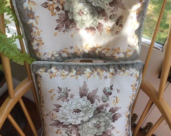 Pretty Vintage 1960's Floral Cushion Covers Soft Green Hues