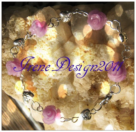 Handmade Silver Bracelet with Purple Resin Roses & Hearts by IreneDesign2011
