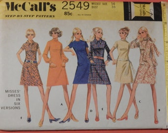 Vintage dress pattern McCall's 2549 Dress pattern in six versions Size 14