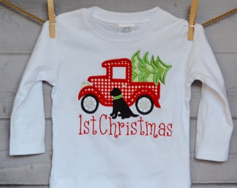 Truck with Christmas Tree and Lab Dog Applique Shirt or Onesie Boy or Girl
