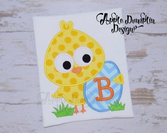 Personalized Easter Chick with Egg Applique Shirt or Onesie Girl or Boy