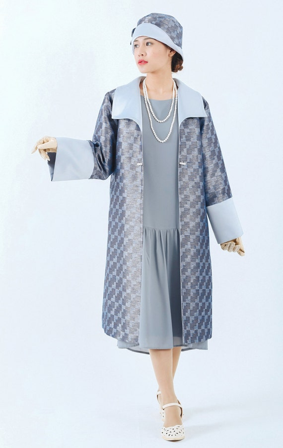 Vintage Coats & Jackets | Retro Coats and Jackets Blue and grey Great Gatsby coat 1920s blue coat Miss Fisher coat Downton Abbey jacket 1920s flapper jacket art deco jacket 20s fashion $155.00 AT vintagedancer.com