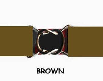 STRETCH-ELASTIC-BELT - Brown * 3-Sizes for Kids & Adults *  Adjustable on Both Sides