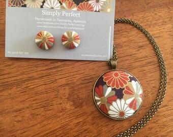 Japanese flower fabruc button pendant set