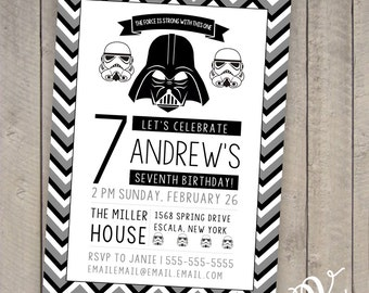 Star Wars Birthday Invitation/Darth Vader/Stormtrooper {Printable}{Instant Download}{Self-Edit}