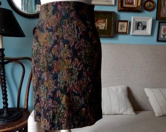 VTG 90's tapestry stretch high waist moto pencil midi skirt bodycon grunge city small