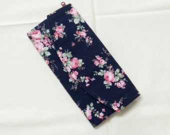 Tri fold long wallet, cotton fabric, flower on navy background