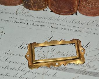 Antique Decorative Brass File Drawer Library Cabinet Hardware Label Card Holder