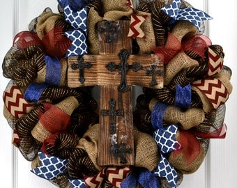 Year Round Wreaths for Front Door - Everyday wreath - Cross Wreath - Religious Wreath - Sympathy Wreath - Rustic Wreath -Brown Wreath