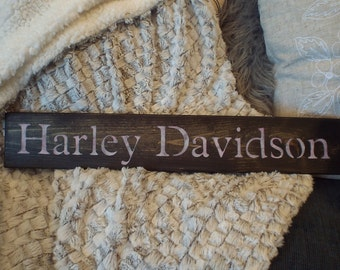 """Wood Stenciled Sign....""""Harley Davidson"""""""