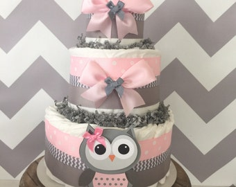 Owl Diaper Cake in Pink and Gray, Owl Baby Shower Centerpiece for Girls