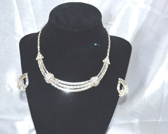 Signed Pennino Clear Rhinestone Vintage Necklace Earring Demi