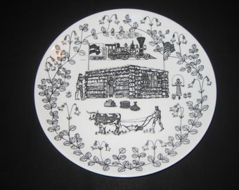 Swedish Porcelain Plate - 19th Century Immigrants from Sweden to America