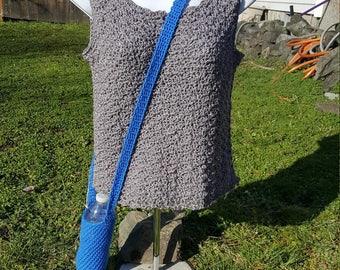 over the shoulder water bottle holder ,  bottle holder, hiking accessory blue