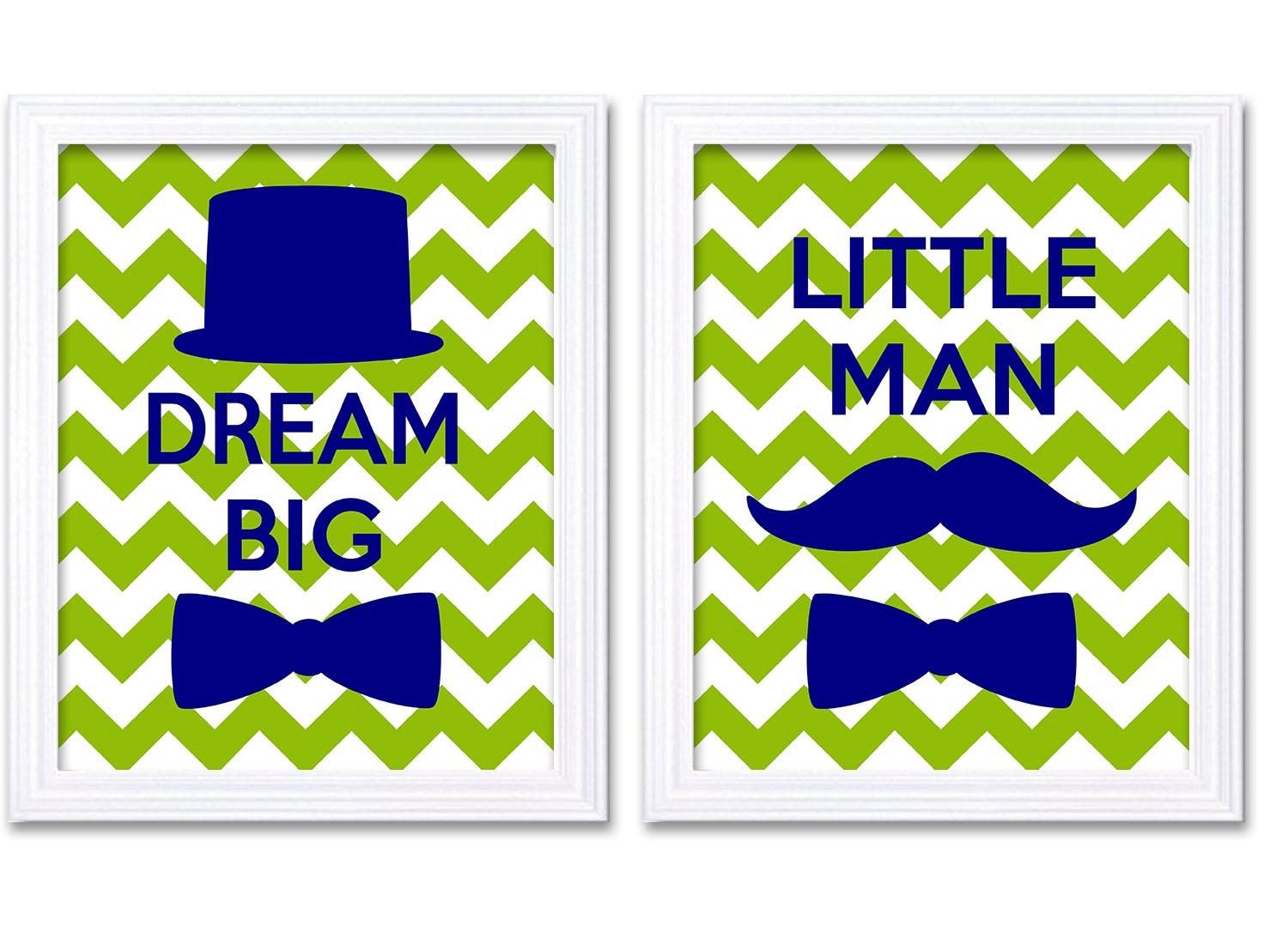 Dream Big Little Man Nursery Art Lime Green Navy Blue Nursery Print Set of 2 Tophat Bowtie Child Bab