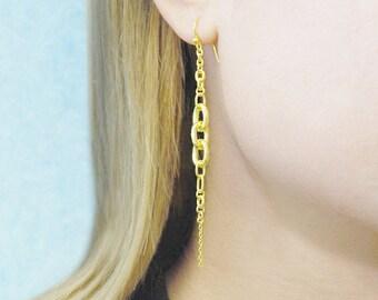 Gold Earrings, Gold Chain Earrings, Gold Drop Earrings, Handmade Chain Earrings, Gold Dangle Earrings, Long Drop Earring, Unusual Earrings