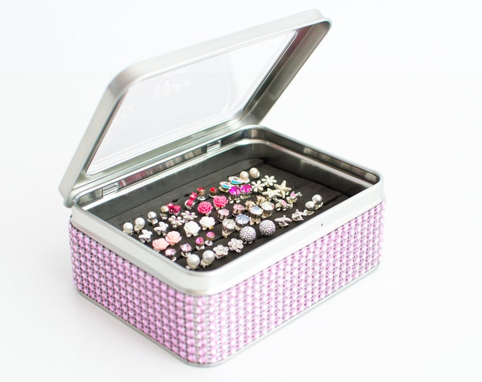 Tin Jewelry Box - Light Pink Jeweled Ribbon - Stud Earring Holder