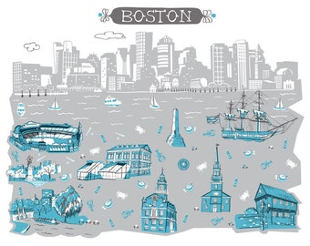 Wall Art-Boston MA-Art Print-3 Color-City Illustrations-10x8-