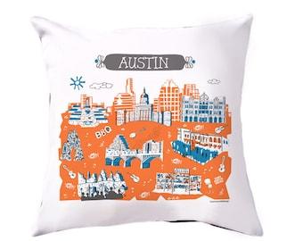 Austin Pillow-Home Goods-Blue-Orange-Dark Grey-Austin TX gift-16 x 16