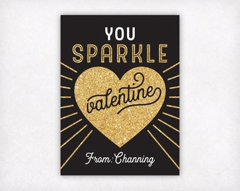 PRINTABLE Valentines for Kids, Personalized Valentine Cards, You Sparkle Valentine Cards, Gold Girls Valentines Day Card, School Classroom