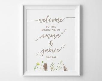 Boho Wedding Signs, Welcome Wedding Sign, Bohemian Wedding Sign, Welcome to Our Wedding Sign, Spring Summer Garden Wedding Decor, WS3T
