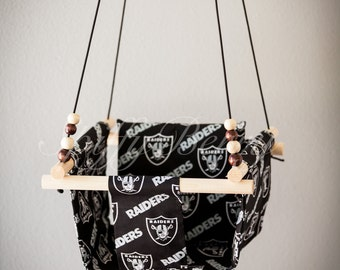 Raiders Baby  Fabric Swing. Indoor / Outdoor Baby Todler Swing.Baby Swing Chair. Toddler Indoor Outdoor Canvas