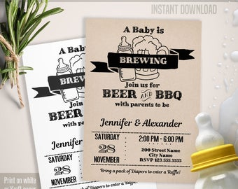 Baby is Brewing invitation, Beer and BBQ templates, Baby Shower invite, Instant download self editable PDF B103