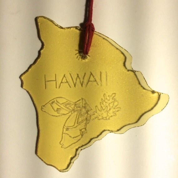 Hawaii Inspirational Stained Glass Suncatcher Engraved with Palm Trees & Petroglyphs Deesigns By Harris