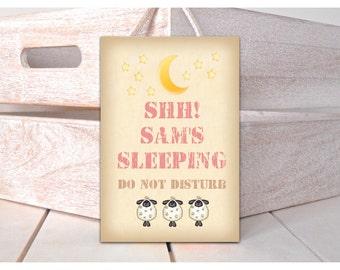 SHH! SLEEPING: PERSONALISED Hanging Custom-Made Door Plaque in Wood or Metal
