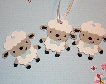Sheep Tags/Boy Sheep Party Favor Tags/ Baby Blue/ Baby Sheep/ Baby Lamb Party/Baby Shower
