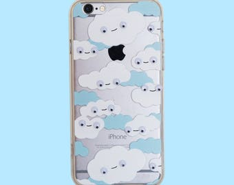Happy Cute Clouds with Moving Googly eyes Phone Case for Apple iPhone 6/6S