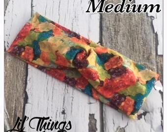 Gummy Bears Candy Twist Knot Headband Turban Headbands, S, M, L, Small, Medium, Large