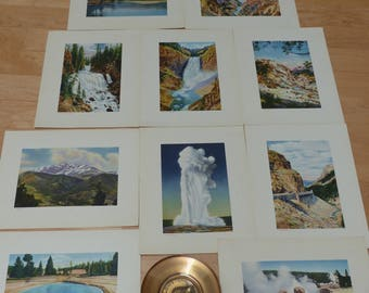 Vintage Haynes Picture Red Portfolio Set of Yellowstone National Park Prints plus Commemorative Brass Bowl