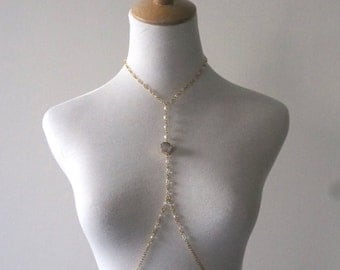 Pearl and Pale Pink Druzy Criss-Cross Necklace, Gold or Silver finish