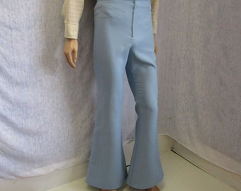 "70s 30"" x 33"" Polyester Men's BELL BOTTOMS Pants Blue Grey WeirdoWear"