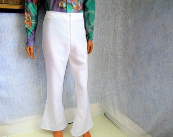"70s 34"" x 32"" Polyester Men's BELL BOTTOMS Pants White WeirdoWear"