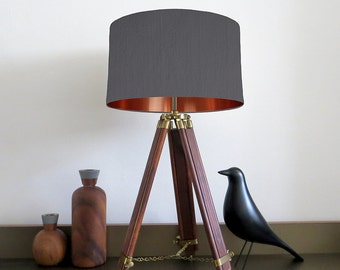 Bespoke Grey lampshade with Copper Mirrored Metallic Lining