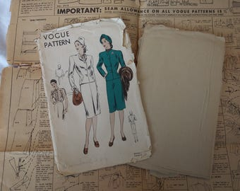 1940s Vogue Fitted Suit and Ruffled Blouse Pattern #5415 34 Bust Diagonal Seams