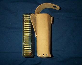 Leather .22 caliber Cartridge Belt slide holder for 100 rounds