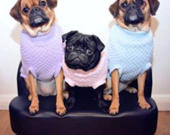 Knitted Dog Jumper/Sweater -Pug Size- Handmade